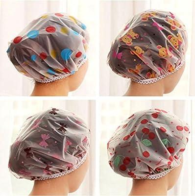 AKOAK 5 Pieces Reusable Waterproof EVA Plastic Lace Elastic Band Flower Printed Hat Environmental Protection Hair Bath Caps Shower Caps