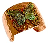 Forged Copper and Patina Brass Neo-Victorian Butterfly with Filigree Cuff Bracelet