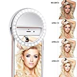 Meer Clip on Selfie Ring Light [Rechargeable Battery] with 36 LED Bulbs and 3 Grade Lights for Phone, Tablet, iPad, Laptop, Camera (White)