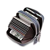 Anvesino Women's RFID Blocking Genuine Leather Credit Card Wallet Ladies Small Card Case Holder Purse(Waxed Gray Blue)
