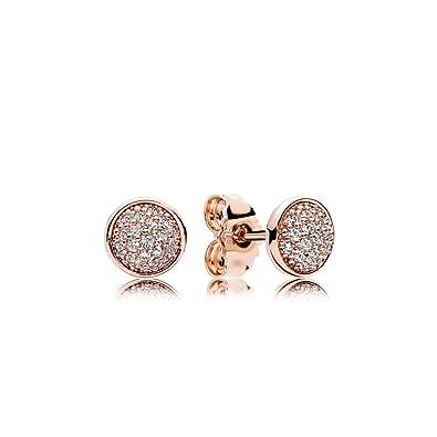 9f811f3e5 ... Bloomingdales0 PANDORA Stud Earrings in PANDORA Rose with 38 Bead-Set  Clear Cubic Zirconia - 280726CZ pandora rose gold ...