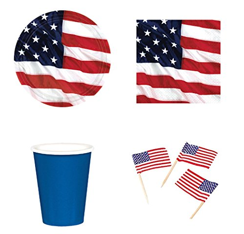 Disposable Dinnerware Set Party Supplies Kit Patriotic American Flag for 8 Guests Includes Plates, Napkins, Cups, and American Flag Cupcake Topper Picks