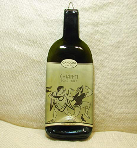 (Candoni Chianti Red Wine Bottle Melted Flat UpCycled Platter)