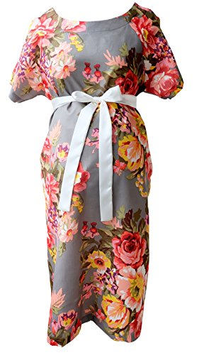 Maternity Gown Hospital Labor delivery Breastfeeding Skin To Skin S M Grey Floral