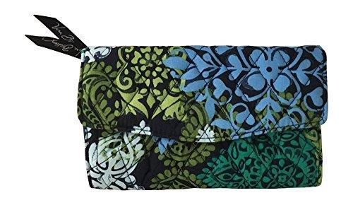 Vera Bradley Strap Wallet (Caribbean Sea with solid navy blue lining)