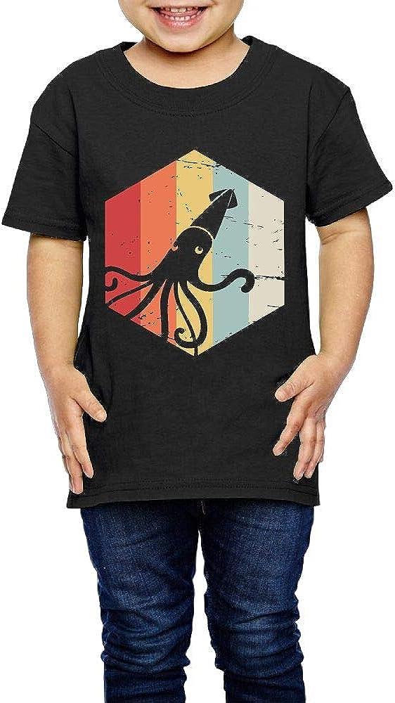 SC/_VD08 Retro Kraken Squid Unisex Kids Round Collar Shirt Clothes
