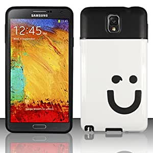 Samsung Galaxy Note 3 Note III N9000 Dual Layer Hybrid Snap On Case Cover [Happy Face] + Free TalkingcaseTM Screen Protector (Black/White)