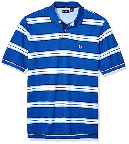 - Chaps Men's Big and Tall Classic Fit Striped Cotton Mesh Polo Shirt, Sapphire Multi, 4XB