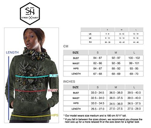 Sudadera cerrada con capucha y serigrafía original Pagan Banshee para mujer, 100% algodón Verde