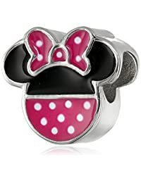 Disney Stainless Steel Minnie Pink Polka Dot Bead Charm