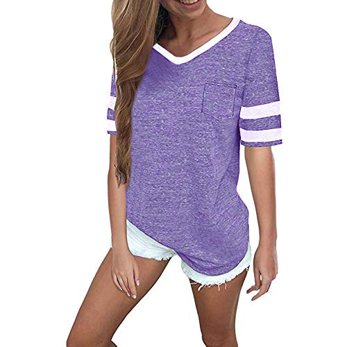 Girl Womens Light T-shirt - OMSJ Womens Summer Tops Casual Short Sleeve T-Shirts (S, Light Purple)
