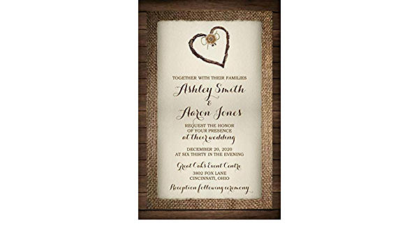 Rustic Country Twine Heart Wedding Invitations with RSVP Option