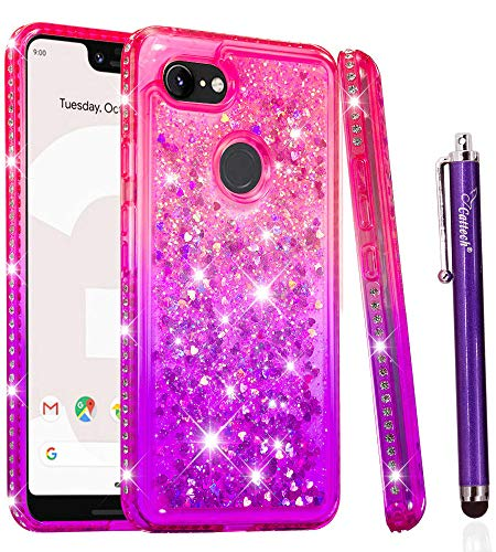 Glitter Case for Google Pixel 3 XL (2018), Cattech Liquid Quicksand Waterfall Flowing Sparkle Shiny Bling Diamond Luxury Pretty Fashion Cute Girls Women for Google Pixel 3 XL Case +Stylus(Pink/Purple)