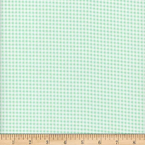 Mook Fabrics Flannel Gingham Mint Fabric Fabric by the Yard