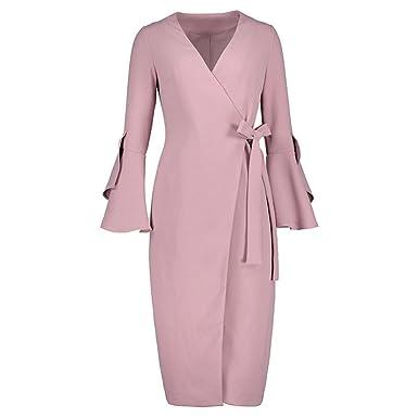 Xaviera Mujeres Vestido ajustado 1950s Otoño INVIERNO Delgado Rosa Elegante Vestido Pink S