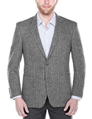 Chama Men's Two Button Classic Fit&Slim Fit Sport Coat Wool Blazer (Grey Herringbone, ()