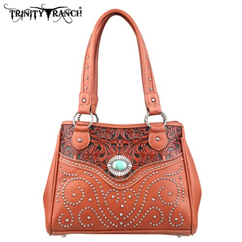 Montana West TR14-8036 Trinity Ranch Tooled Design -Brown Western Handbag Purse
