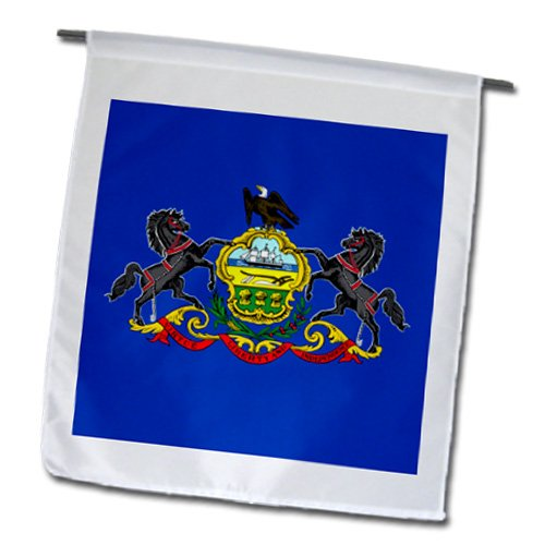 State Coat Of Arms - InspirationzStore Flags - Flag of Pennsylvania PA - US American United State of America USA horse eagle blue coat of arms - Flags - 12 x 18 inch Garden Flag
