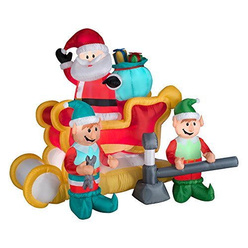 Gemmy Animated Airblown Inflatable Santa in a Broken Down Sleigh With Two Elves Jacking It Up - Indoor Outdoor Decorations, 6-foot wide x 5.5-foot tall x 4-foot deep - Gemmy 6' Airblown Santa