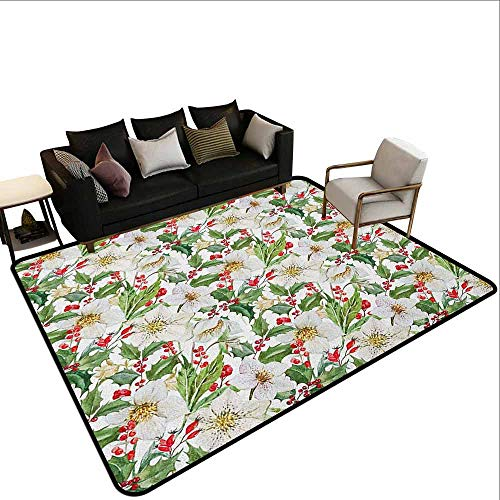 - Children's Toy Carpet Watercolor,Christmas Themed Floral Poinsettia Winter Inspirations Berries Leaf, Vermilion Green Yellow