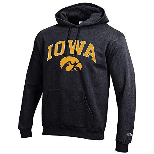 Elite Fan Shop NCAA Iowa Hawkeyes Men's Team Color Hoodie Sweatshirt, Black, Large