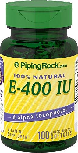 Oil D-alpha Tocopheryl Acetate (Piping Rock 100% Natural Vitamin E-400 IU 100 Softgels d-alpha Tocopheryl Vitamin Supplement)