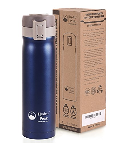 Hydro Peak 17oz Double Wall Vacuum Insulated 304 Stainless Steel Coffee Travel Mug, One Touch Lock Lid Thermos Water Bottle, Keeps Drinks Hot for 12 Hours and Cold for 24, Navy Blue