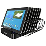 Skiva 84W / 2.4 Amps EVERY Port Simultaneously 7-Port Desktop USB Rapid Charging Station Dock & 7 short micro-USB Cables for Samsung Galaxy, LG, Smart Phones, Tablets, Wearables & more [Model:AC122]