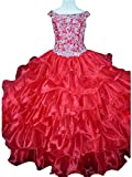 Yang Girls Crystal Ruffled Princess Floor Length Party Pageant Dresses 14 US Red