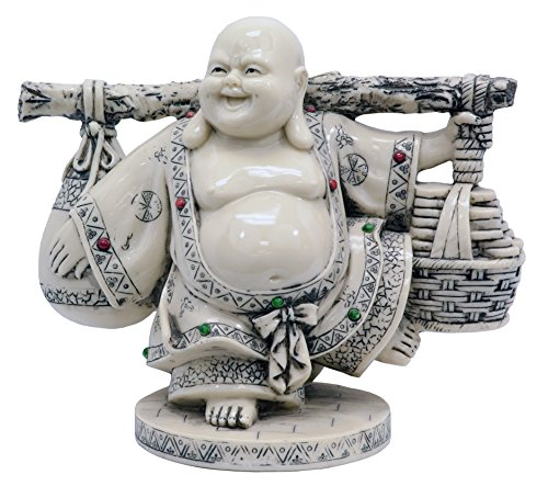 Rayes Imports K93196 Laughing Buddha Standing Ivory 8 Inch High