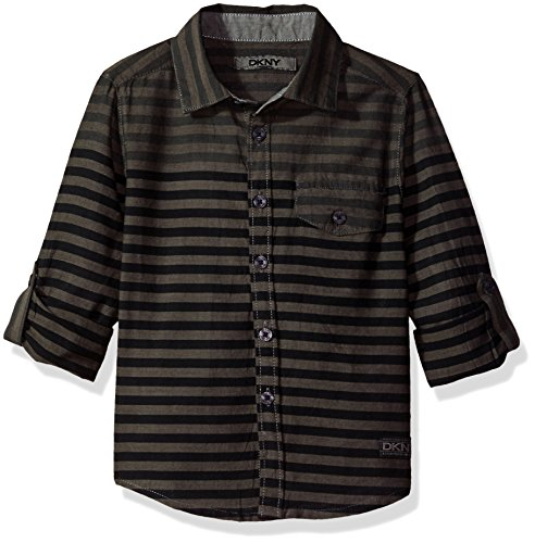 DKNY Boys' Big Long Sleeve Sport Shirt (More Styles Available), Charcoal, ()