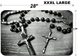 Luxlady Large Table Mat Non-Slip Natural Rubber Desk Pads IMAGE ID: 34715702 Two rosaries Catholic most important prayer support