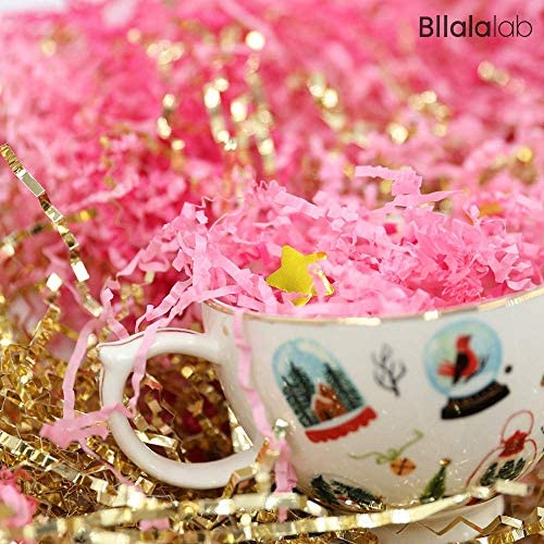 Pink & Gold Crinkle Cut Paper Shred Filler 1LB, Raffia Paper Gift Wrapping Basket Filling Bag Stuffing and Packing, Assorted Color Variations Tissue Filler, through BllalaLab (Pink & Magenta & Gold)