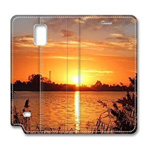 Brain114 Fashion Style Case Design Flip Folio PU Leather Cover Standup Cover Case with Beautiful Sunset 7 Pattern Skin for Samsung Galaxy Note 4