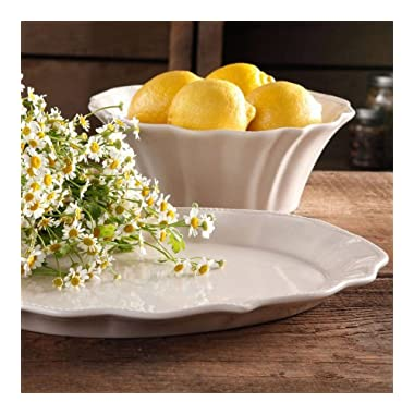 The Pioneer Woman Paige 2-Piece Serving Set with 10  Serving Bowl and 14  Serving Platter, Glaze Stoneware - Linen