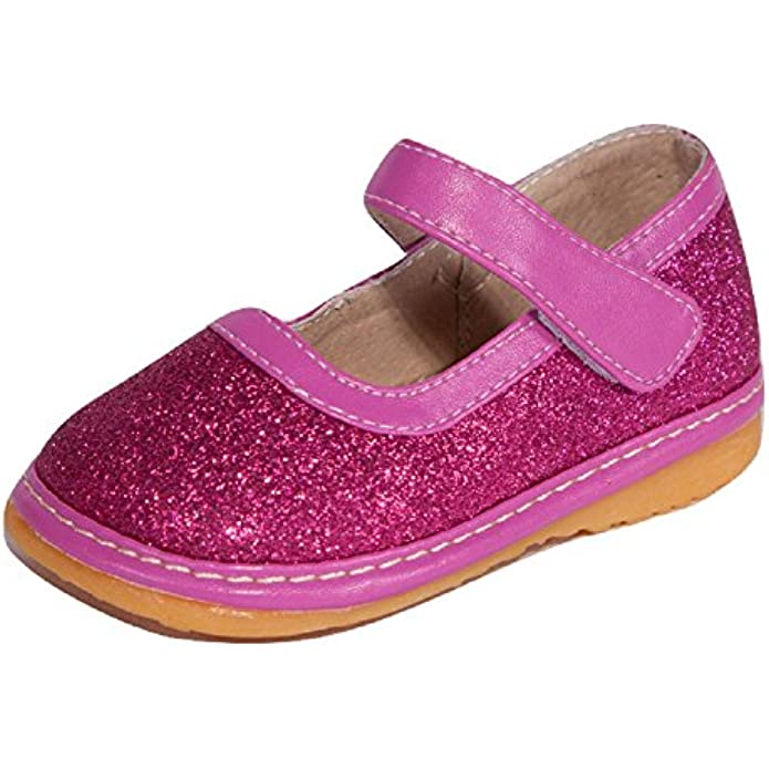 Little Mae's Boutique Mary Jane Sparkle Squeaky Shoes for Toddler Girls, Ideal Toddler Walking Shoes with Removable Squeaker and Adjustable Strap - Flexible Sole Baby Shoes