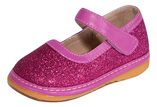 Hot Pink Sparkle Mary Jane Toddler Girl Squeaky Shoes (9)