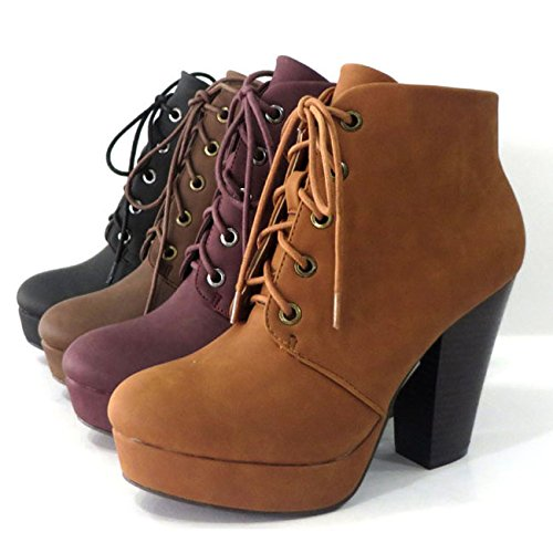 BAMBOO HUXLEY-01 Womens Lace-up Round Toe Platform Chuncky Heel Ankle High Booties, Color:CHESTNUT, Size:9