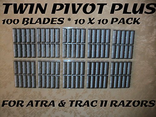 Personna Twin Pivot Plus - 100 Blades (10 x 10 Bulk Pack) Atra Plus Refill Cartridges