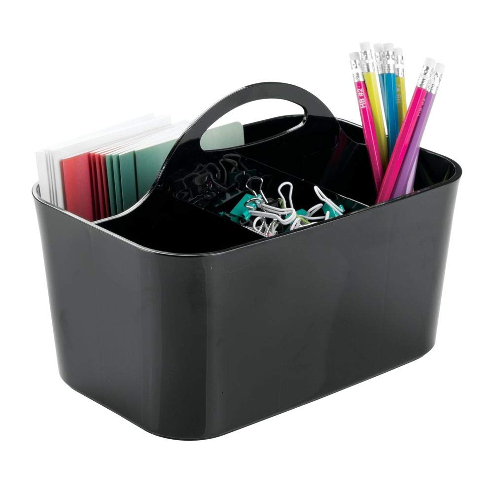 mDesign Small Office Storage Organizer Utility Tote Caddy Holder with Handle for Cabinets, Desks, Workspaces - Holds Desktop Office Supplies, Gel Pens, Pencils, Markers, Staplers - Black
