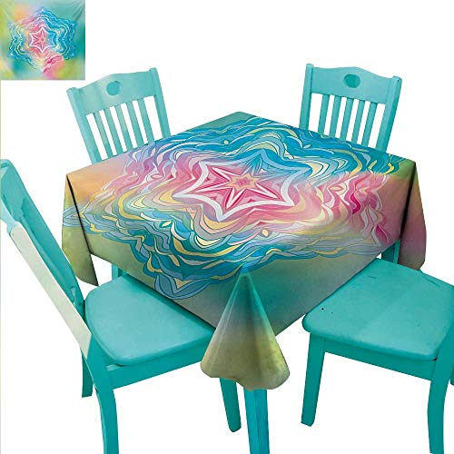 - Mandala Washable Table Cloth Psychedelic Liquid Layered Digital Ethnic Floral Icon in Soft Colors Illustration Washable Polyester - Great for Buffet Table, Parties, Holiday Dinner, Wedding & More 50