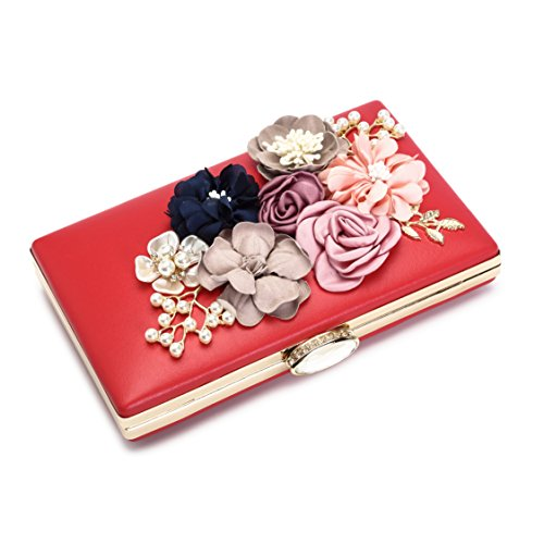 Women's Bride Evening Handbag Red For Wedding Flower Bags Satin Pearl Beaded Evening Clutch Prom rH1xrqwP