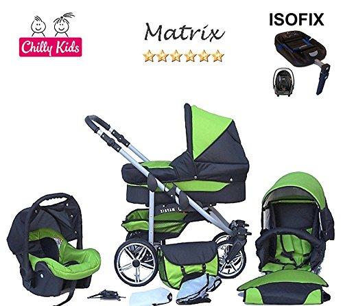 Chilly Kids Matrix II cochecito Safety de verano de Juego (sombrilla, Auto asiento & Base Isofix, protector de lluvia, mosquitera, ruedas giratorias) 23 Schwarz & Schwarz 29 Schwarz & Grün