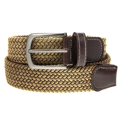 Braided Belt Unisex Silver Nickel Finish Buckle Faux Leather Elastic Woven Stretch Mens Womens -