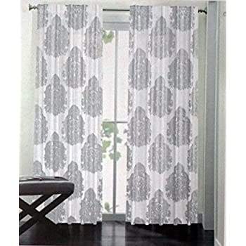 Nicole Miller Pair Of Window Panels Curtains Drapery Set 2 Metallic Silver Gray Paisely Medallions