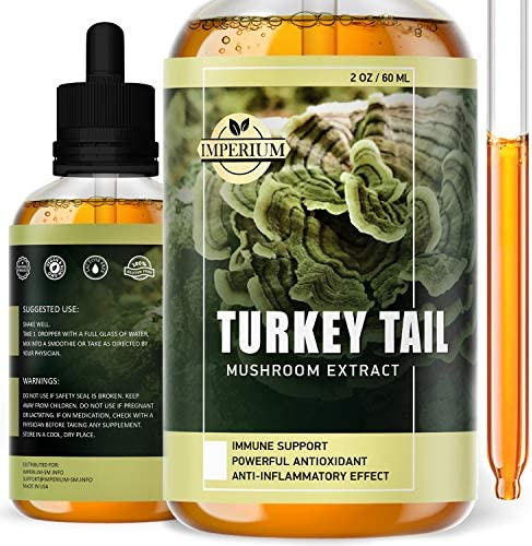 Turkey Tail Mushroom Supplements – Comprehensive Immune Support and Brain Health- Organic Mushroom Liquid Extract for Digestive System Energy – Daily Organism Boost Drops with Best Absorption