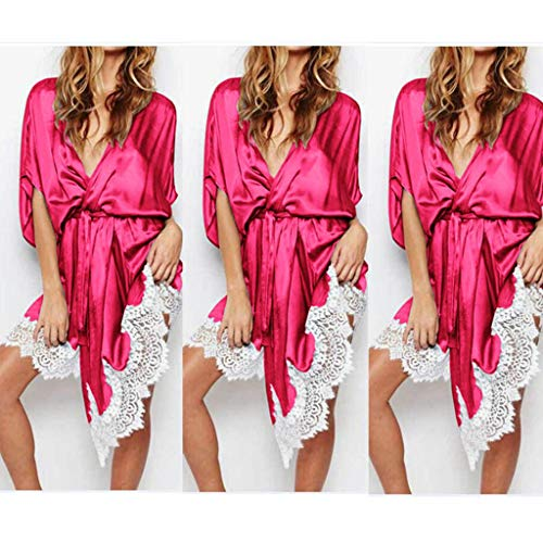 (Ice Silk Brand new Style Sexy Robes Ladies V Neck Satin Man made fiber Lace Hot Kimono Bathrobe Dressing Gown Long Wedding ceremony Nightwear Summer)