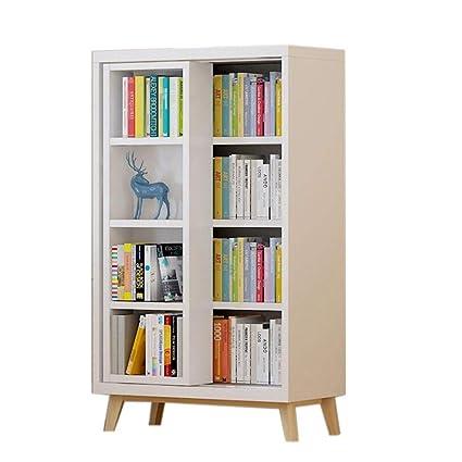 Jcnfa Shelves Bookshelf Sliding Door Bookcase 4 Layer Storage Document  Cabinet A Variety Of