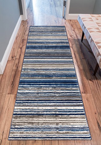Riviera Stripe Blue & Beige Vintage Modern Geometric Abstract Shabby Chic Area Rug 3 x 10 ( 2'7