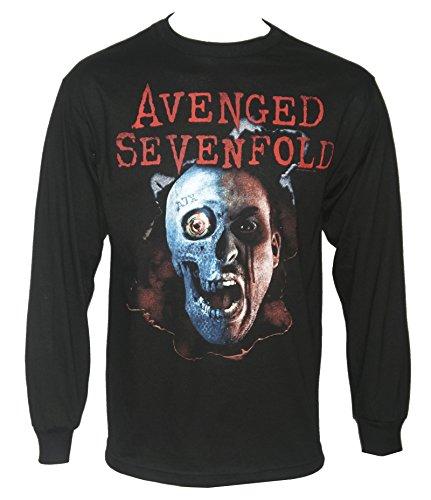 FEAMerch Avenged Sevenfold Men's Two Face Logo Long Sleeve Shirt Black - Logo Two Face